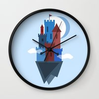 castle in the sky Wall Clocks featuring Sky Castle by Becky Gibson