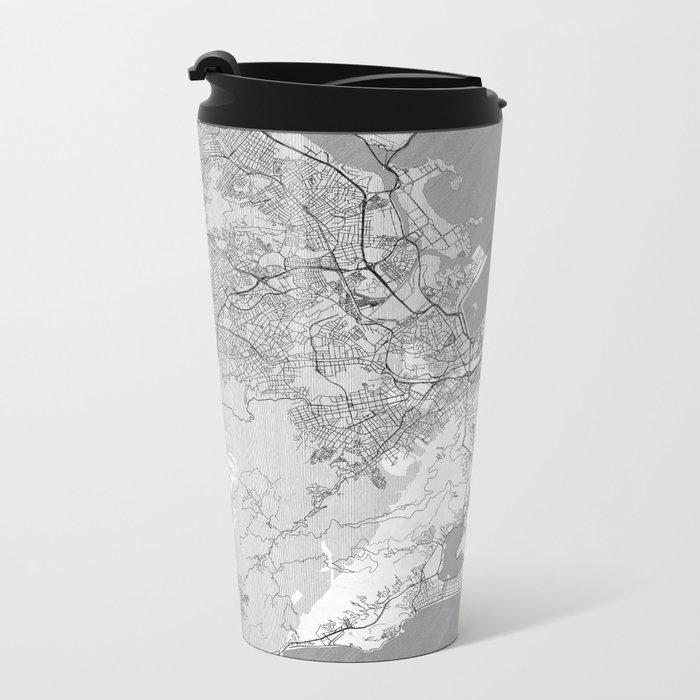 Rio de Janerio Map Line Metal Travel Mug
