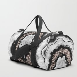 Gray Black White Agate with Rose Gold Glitter #3 #gem #decor #art #society6 Duffle Bag