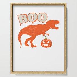 Boo T Rex Dinosaur Pumpkin Funny Halloween Serving Tray