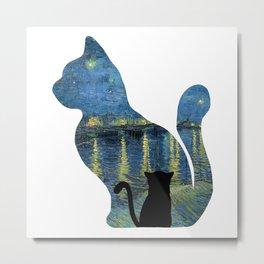Cat Watching The Starry Night Over The Rhone - Van Gogh Painting Metal Print