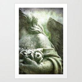 Angelic Cherub Looks Over The Headstones Art Print