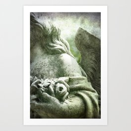 Angelic Cherub Looks Over The Headstones Art Print