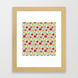 Bright Sunny Mod Poppy Flower Pattern Framed Art Print