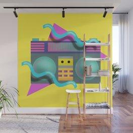 Retro Eighties Boom Box Graphic Wall Mural