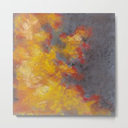 Abstract Drawing Of Fire On A Gray Background Metal Print