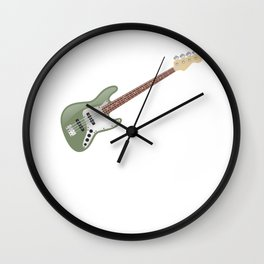 Vintage Avocado Green Electric J-Bass Wall Clock