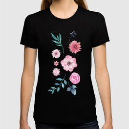 Watercolor Flowers on Limpet Shell Marble T-shirt