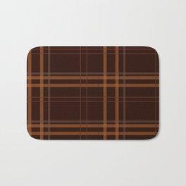 Brown Minimalist checkered Design Bath Mat
