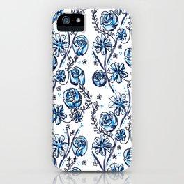 Blue Vintage Rose iPhone Case