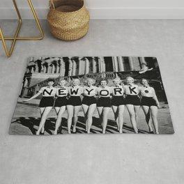 NYC Broadway Chorus Line, New York City black and white photograph Rug