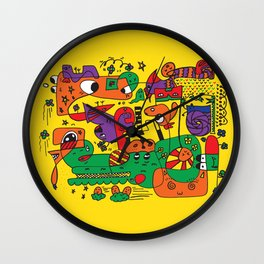 Yellow Doodle Monster World by Pablo Rodriguez (Pabzoide) Wall Clock