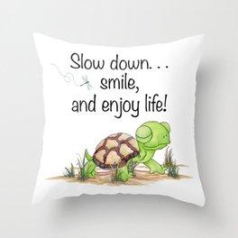 Smiling Turtle Throw Pillow