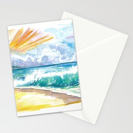 Seven Mile Beach Grand Cayman With Turquoise Waves Stationery Cards