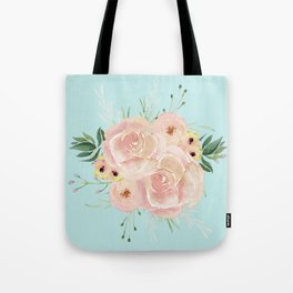 Wild Roses on Succulent Blue Green Tote Bag