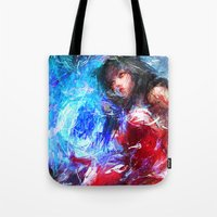 league of legends Tote Bags featuring League of Legends - Ahri by Raditya Giga