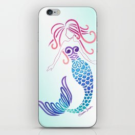 Tribal Mermaid with Ombre Turquoise Background iPhone Skin