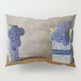 Blue Hydrangeas in Unique Chinese Vases Pillow Sham
