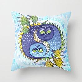 Monstrous Yin Yang Throw Pillow