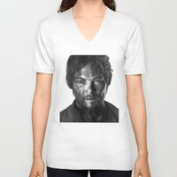 daryl V-neck T-shirts featuring Daryl Dixon by Mike Robins
