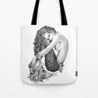 mermaid Tote Bags featuring Mermaid by April Alayne