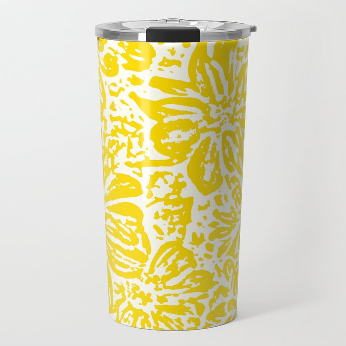 Gen Z Yellow Marigold Lino Cut Travel Mug