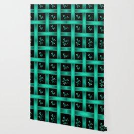 Teal Skull Pattern Wallpaper