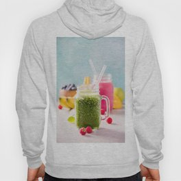 Close-up of green fresh smoothie with fruits, berries, oats and seeds, selective focus Hoody