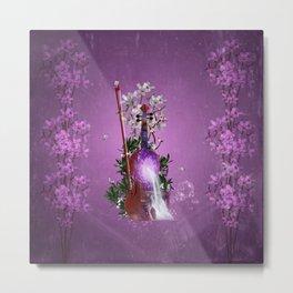 Music, wonderful violin with waterfall and flowers Metal Print
