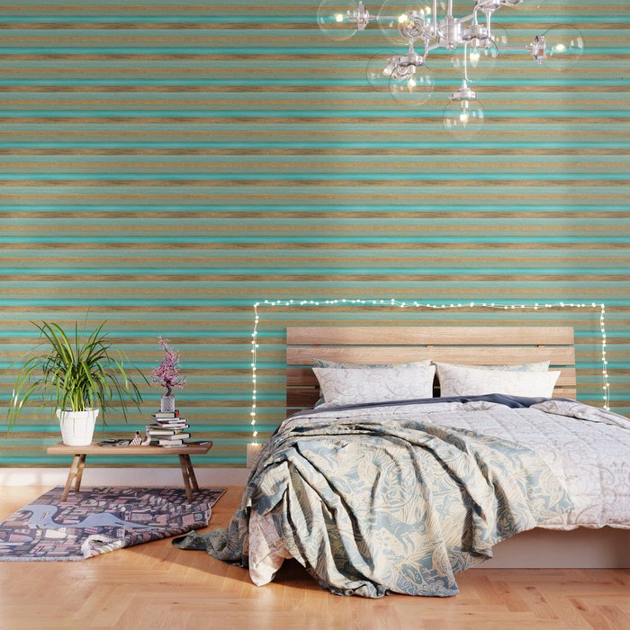Turquoise Brown Faux Gold Glitter Stripes Pattern Wallpaper
