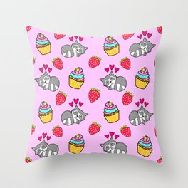 Cute happy sleeping dreaming Kawaii baby raccoon, sweet red summer strawberries and colorful rainbow yummy cupcakes light bright pastel pink design. Throw Pillow