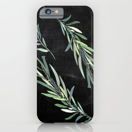 Eucalyptus leaves on chalkboard iPhone Case