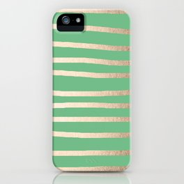 Abstract Drawn Stripes Gold Tropical Green iPhone Case
