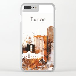 Brown Watercolor Tucson watercolor skyline Clear iPhone Case