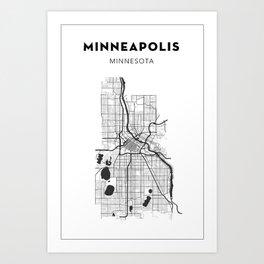 MINNEAPOLIS MAP PRINT Art Print