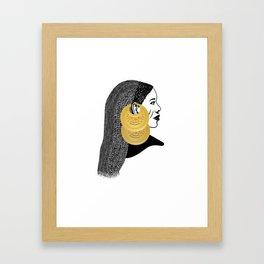 Girl with القمر بوبا earrings Framed Art Print