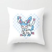 sylveon Throw Pillows featuring 8-Bit Shiny Sylveon (Textless) by einjelato
