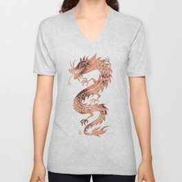 Chinese Dragon – Rose Gold Palette Unisex V-Neck