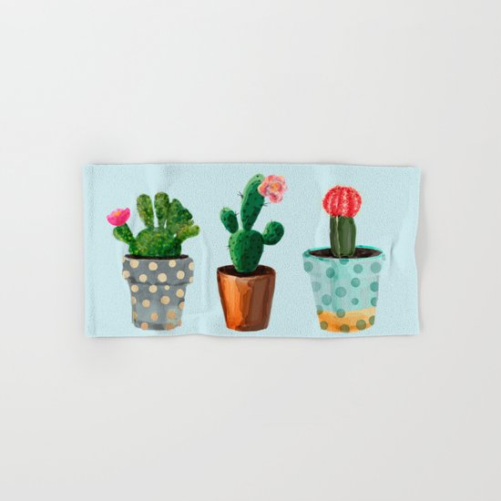 Three Cacti With Flowers On Light Blue Background Hand & Bath Towel