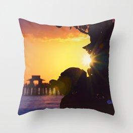 Flare Peek Naples Pier Throw Pillow