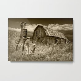 Weathered Wooden Barn with Water Pump and Metal Bucket in Sepia Tone Metal Print