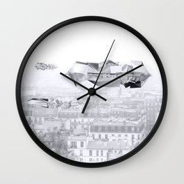 Heavy clouds above Paris Wall Clock