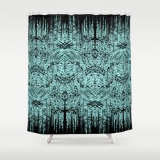 Turquoise Tribal Ethnic Repeat Mirrored Pattern Shower Curtain