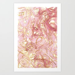 Outlined Scribbles - Pink and Gold Art Print