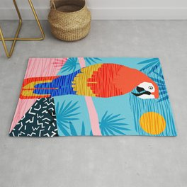 Say What - memphis throwback retro neon tropical 1980s 80s style hipster bright bird paradise art Rug