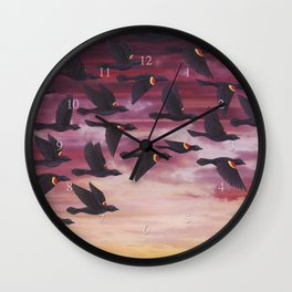 red-winged blackbird flock in flight Wall Clock