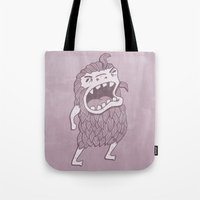 sasquatch Tote Bags featuring Sasquatch by Damien Mason