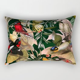 Floral and Birds XXV Rectangular Pillow