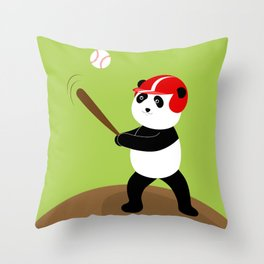 Play baseball together with a panda. Throw Pillow