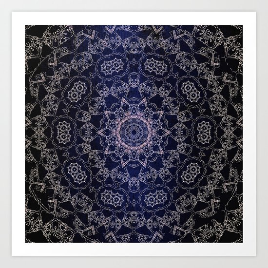 Glowing Nirvana Mandala On Deep Blue Textured Background Art Print